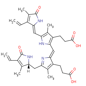 Picture of 15,16-dihydrobiliverdin (click for magnification)